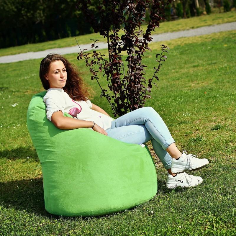 semišový sedací vak