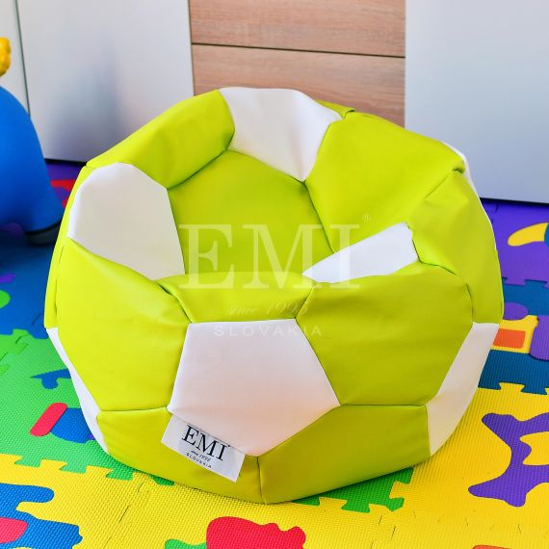 Sedací vak futbalová lopta malá limetkovo-biela EMI