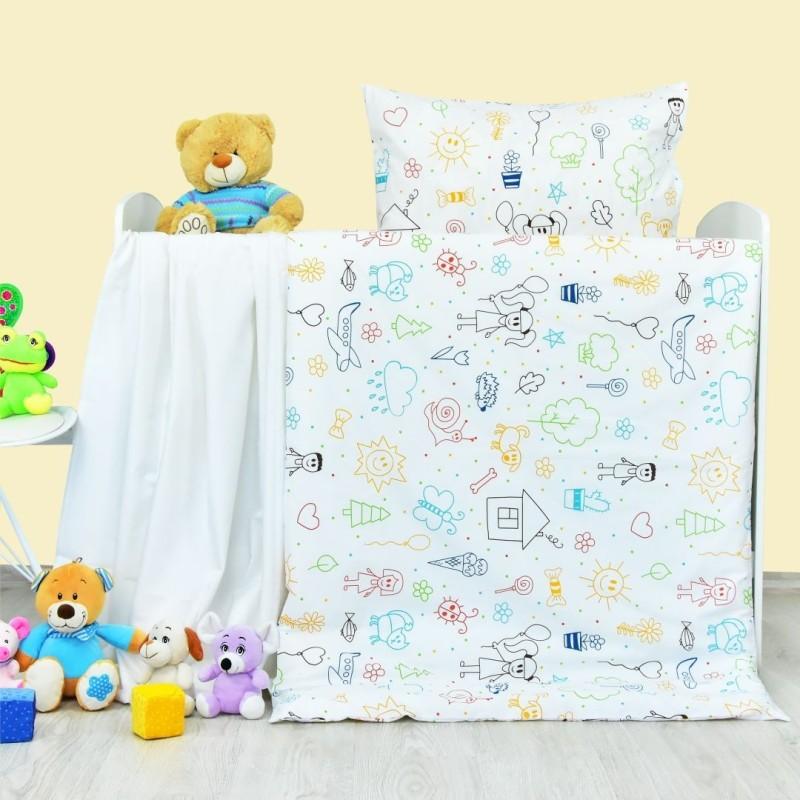Obliečky detské bavlnené Happy biele EMI