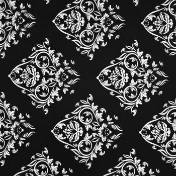 Látka metráž bavlna 100% Don ornament čierny CNM