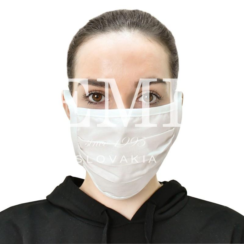 Ochranné rúško textilné biele so šnúrkami EMI