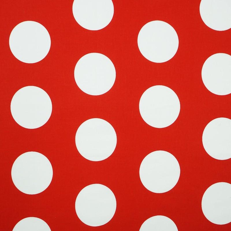Látka metráž 100% bavlna delux Dots červené