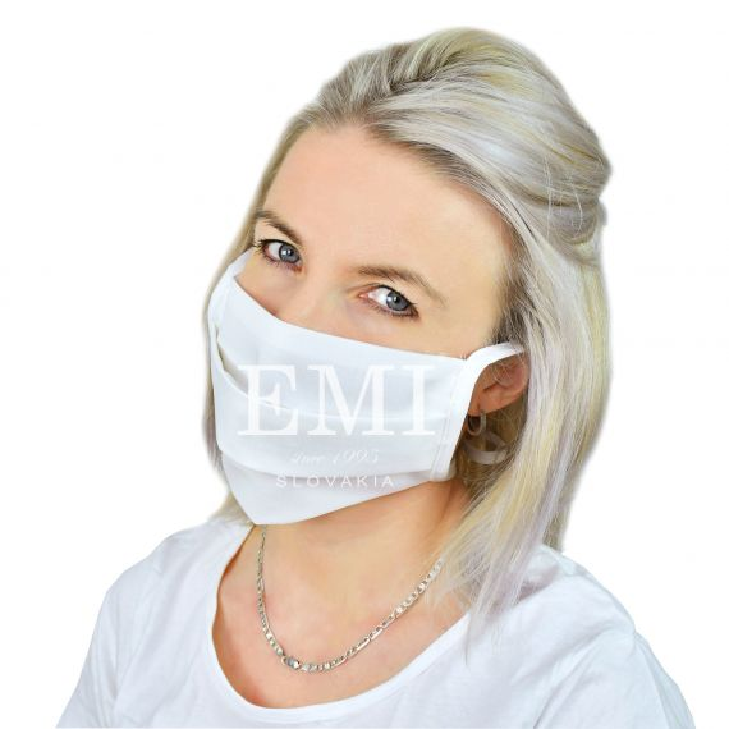 Ochranné rúško dvojvrstvové textilné biele so šnúrkami EMI