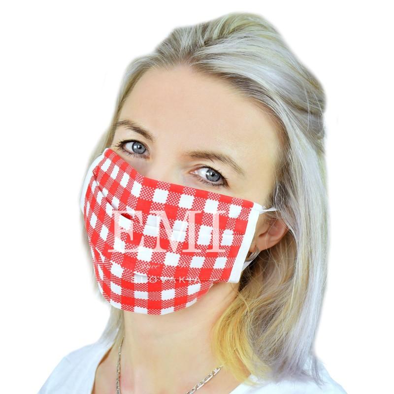 Ochranné rúško dvojvrstvové textilné červené s gumičkou EMI
