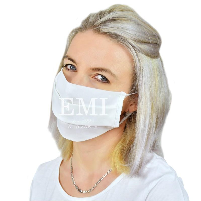 Ochranné rúško dvojvrstvové textilné biele s gumičkou EMI