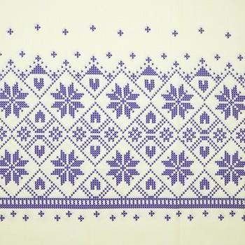 Látka metráž bavlna 100 % delux Etno krémovo-modré