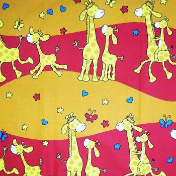 Látka metráž bavlna 100 % Don Žirafky červené CNM
