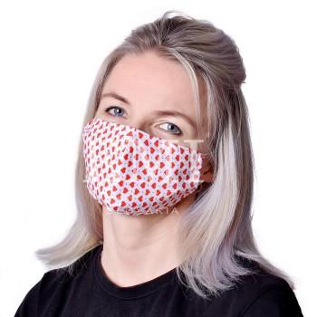 Ochranné rúško dvojvrstvové textilné Srdiečko s gumičkou EMI