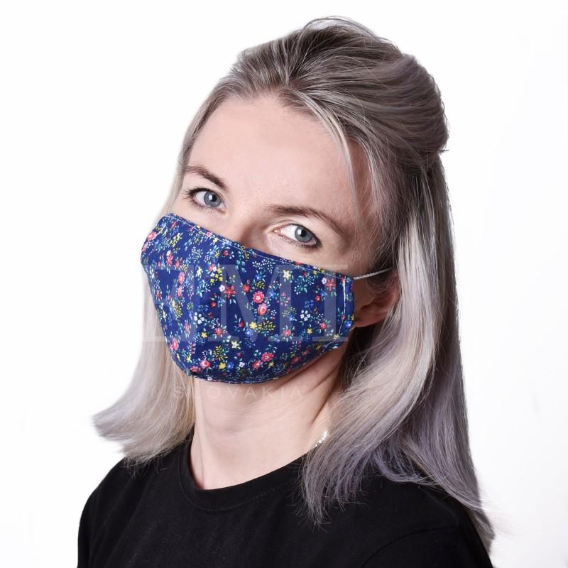 Ochranné rúško dvojvrstvové textilné Kvietok s gumičkou EMI