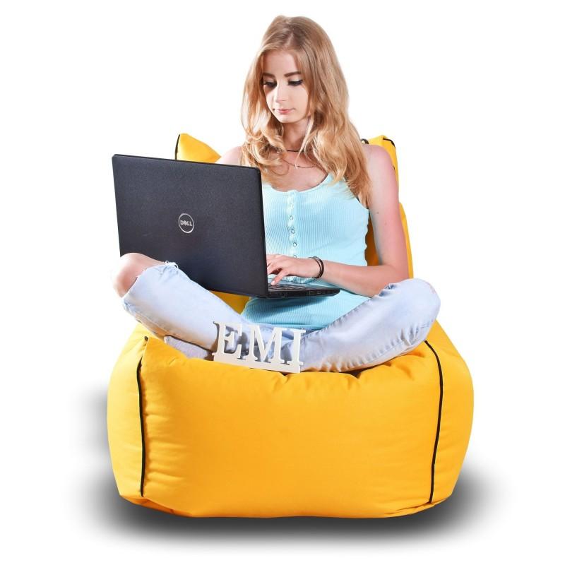 Sedací vak stolička nylonová žltá