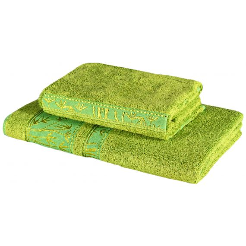 Sada 2 kusov zelenej bambusovej osušky a uteráka EMI