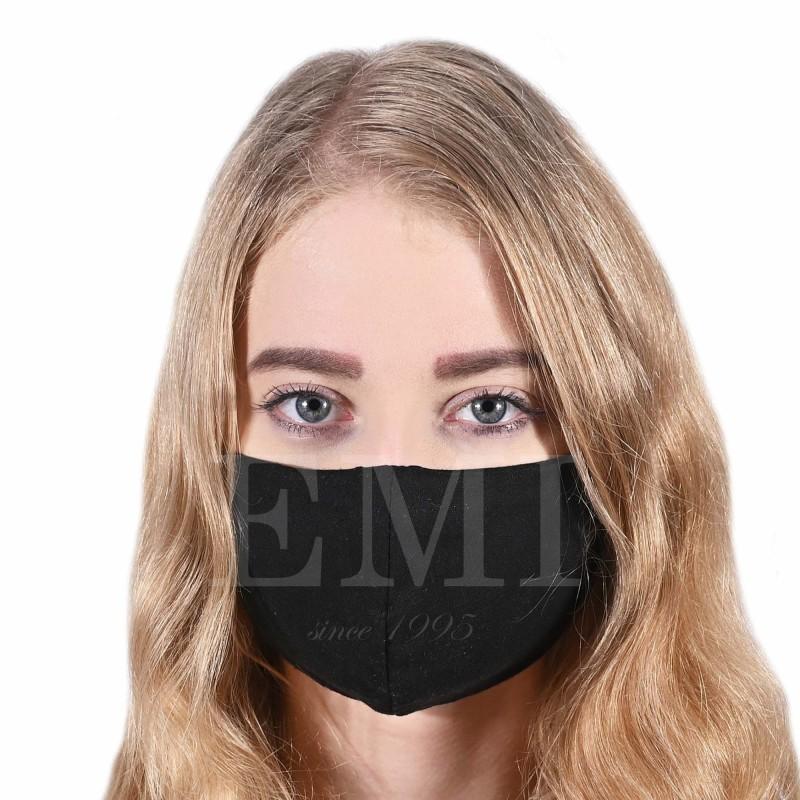 Ochranné rúško dvojvrstvové textilné čierne s gumičkou EMI