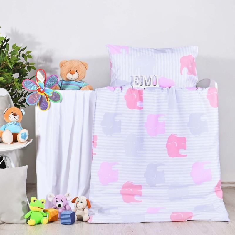 Obliečky detské sloníky ružové EMI