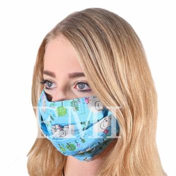 Ochranné rúško dvojvrstvové textilné modré Sloník s gumičkou EMI