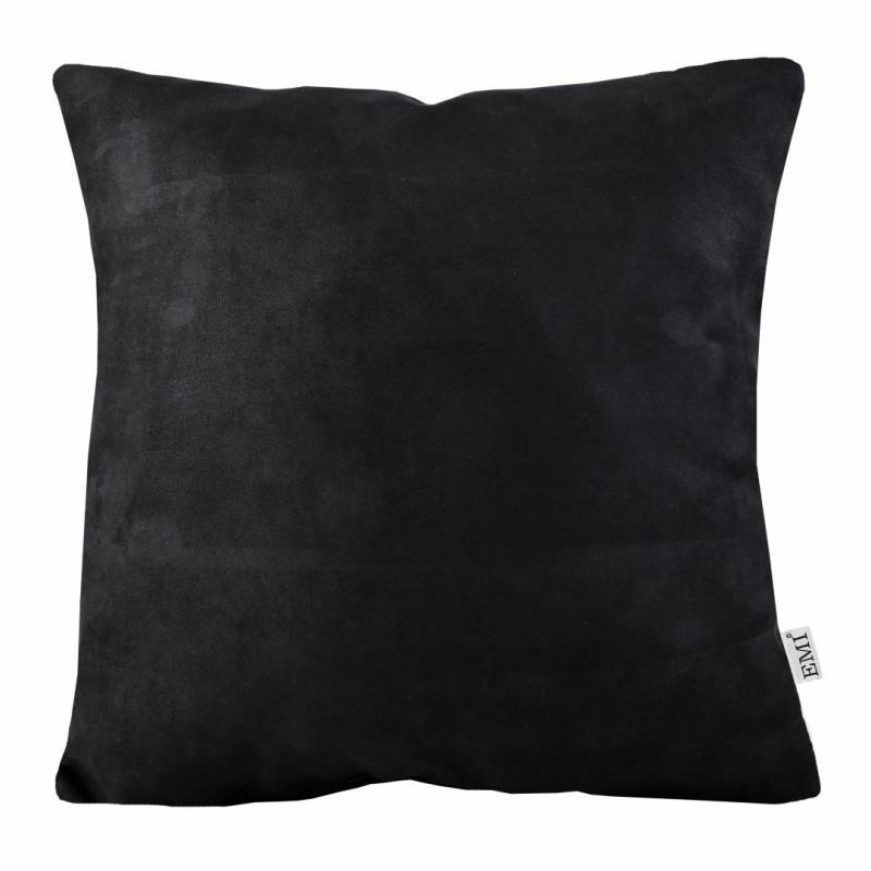 Semišový čierny dekoratívny vankúš