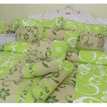 Obliečky Lilien zeleno-béžové satén EMI