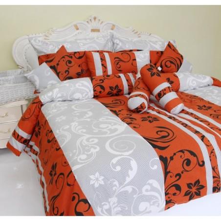 Obliečky Lilien oranžovo-biele satén Emi