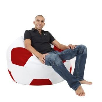 Sedací vak futbalová lopta bieločervená EMI