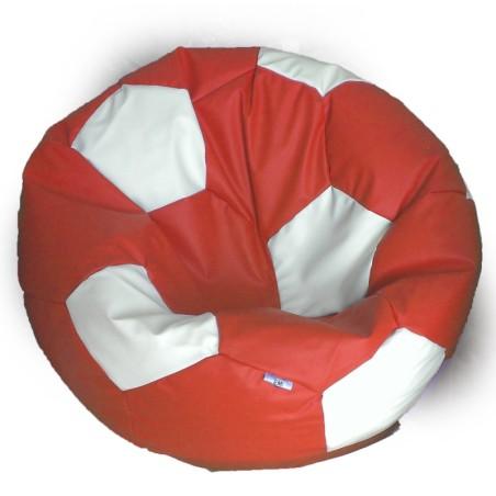 Sedací vak futbalová lopta červenobiela EMI