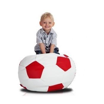 Sedací vak futbalová lopta malá bieločervená EMI