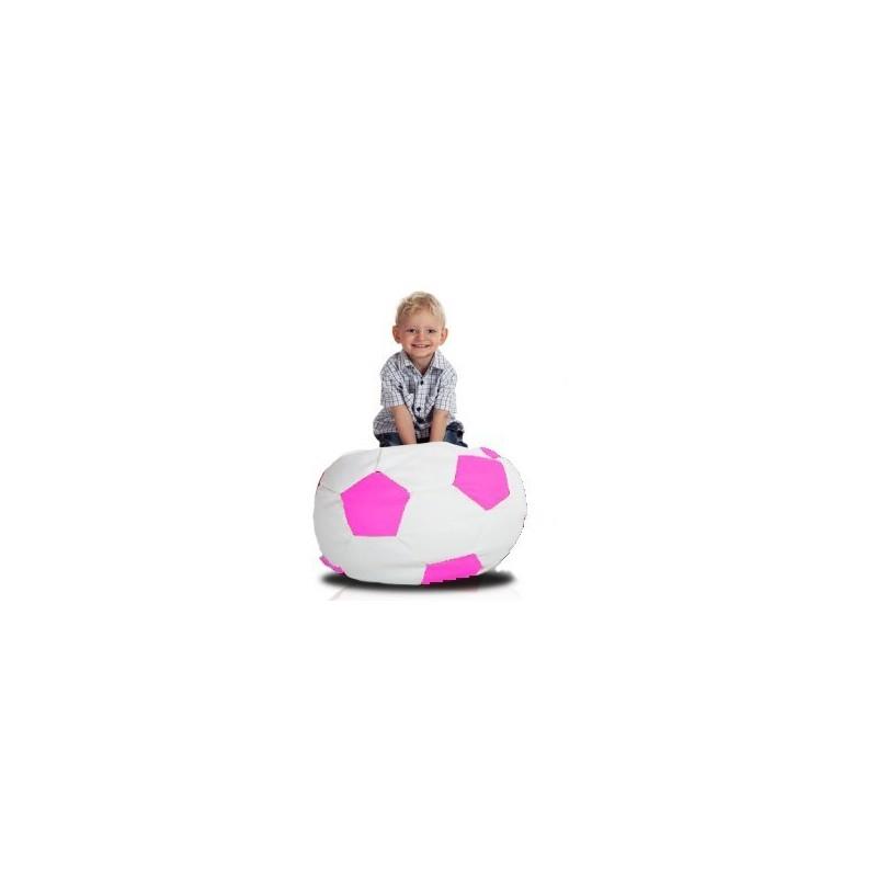 Sedací vak futbalová lopta malá bieloružová EMI