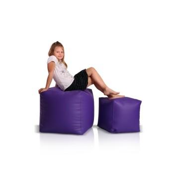 Sedací vak taburetka kocka malá fialová EMI