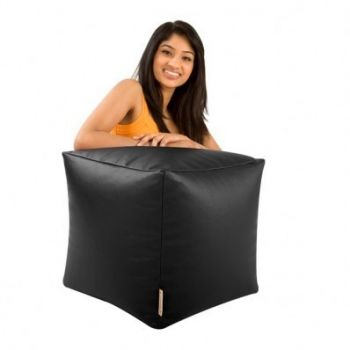 Sedací vak taburetka kocka veľká čierna EMI