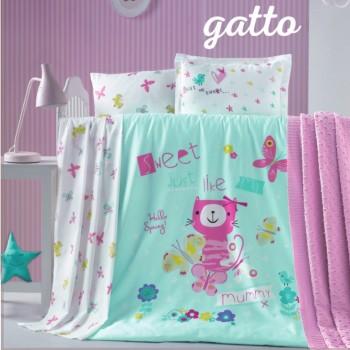 Detské obliečky Gatto tyrkysové