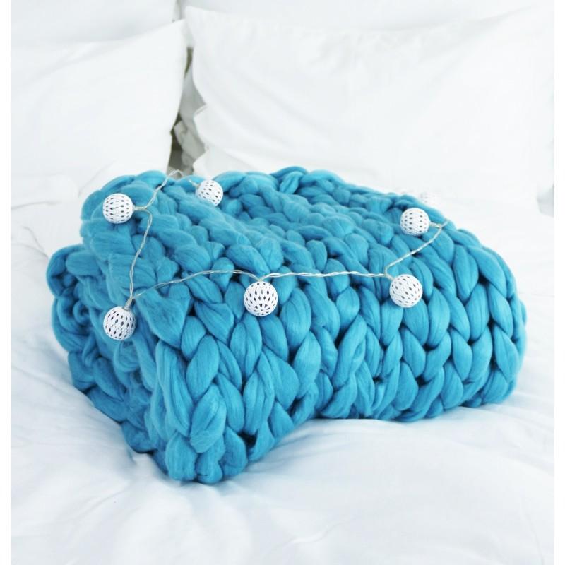 Pletená deka modrá 100 x 120 cm EMI