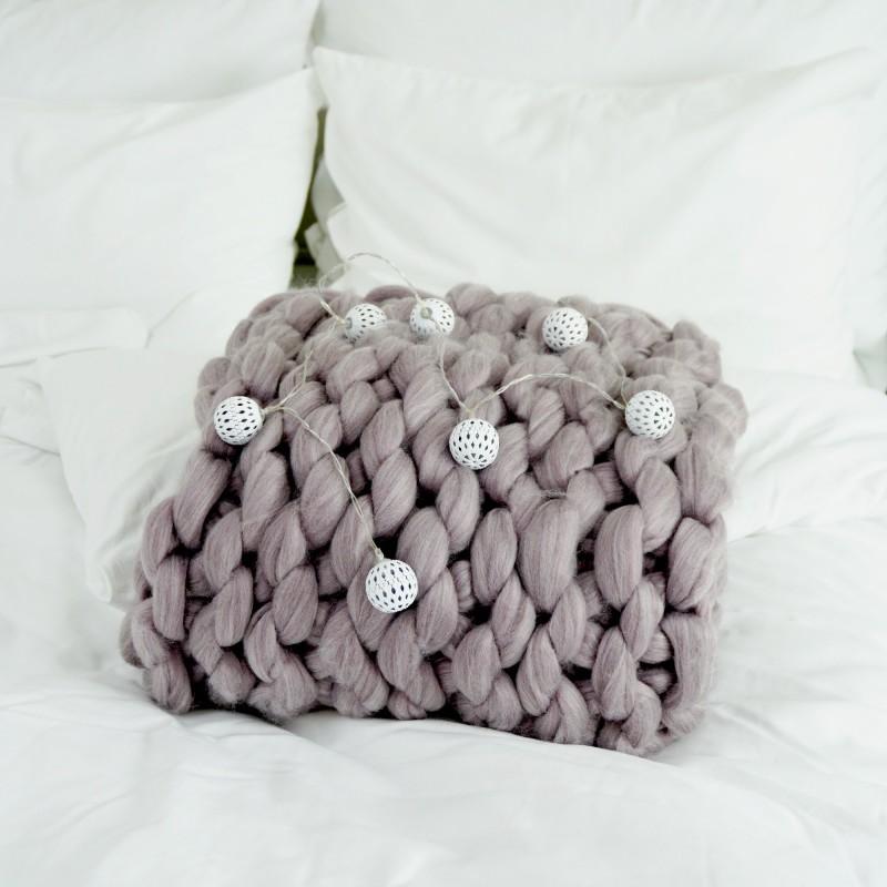 Pletená deka stará fialová 100 x 120 cm EMI