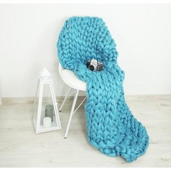 Pletená deka modrá 120 x 150 cm EMI