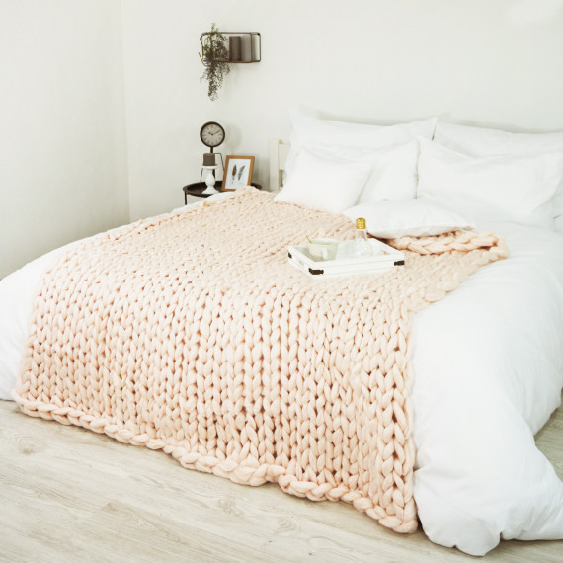 Pletená deka marhuľová 150 x 200 cm EMI