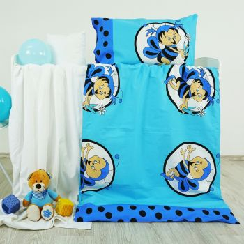 Obliečky detské bavlnené včielky modré EMI