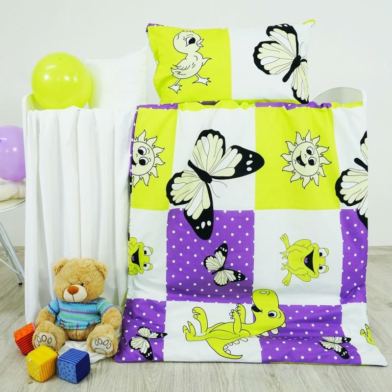 Obliečky detské bavlnené zvieratká fialové EMI