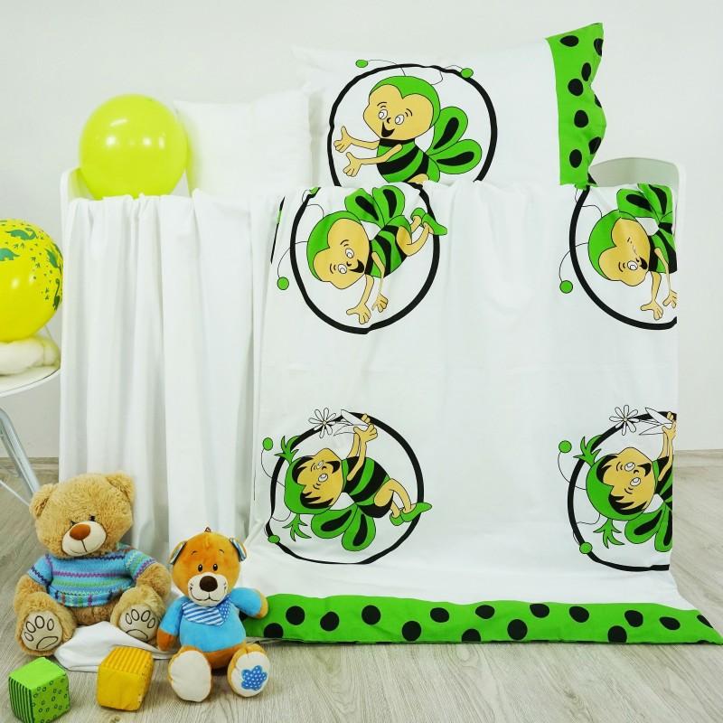 Obliečky detské bavlnené včielky zelené EMI