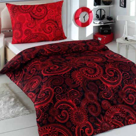Obliečky bavlnené Sal červeno-čierne