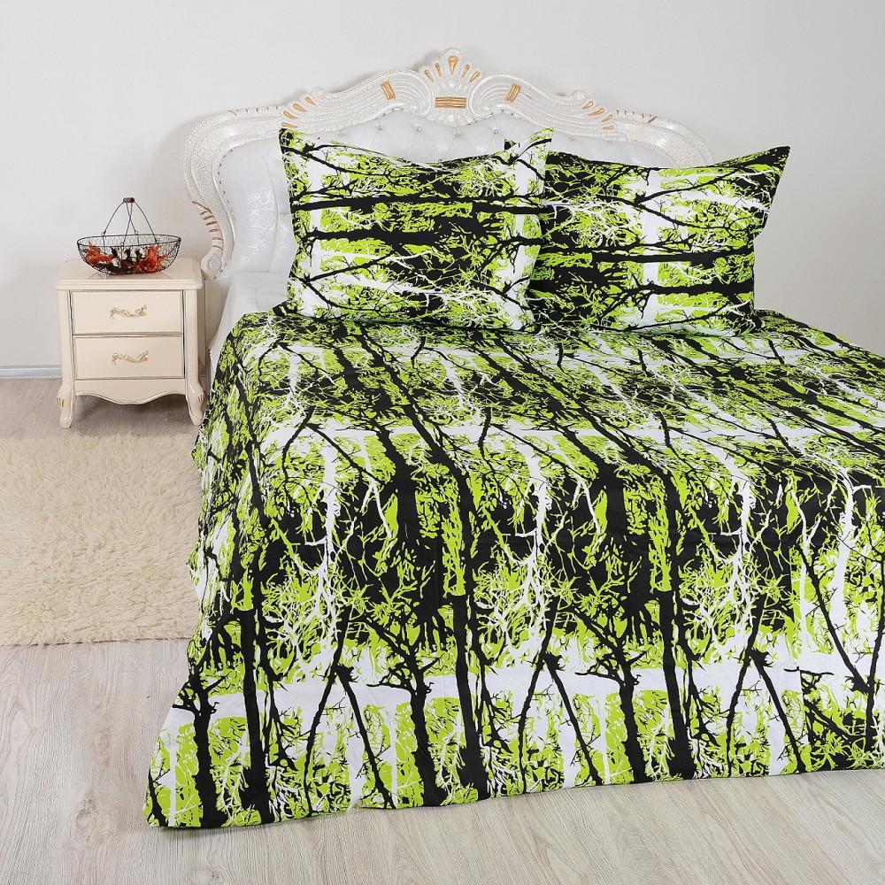 zelený prehoz na posteľ