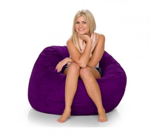 fialový semišový sedaci vak