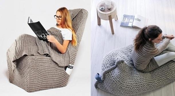 Sedenie v pletenom sedacom vaku